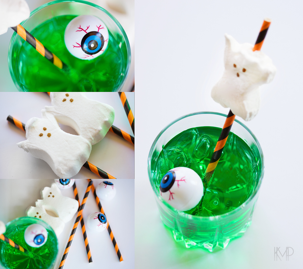 Festive drinks - peeps, fun straws, floating eyeball, food coloring and a clear drink of your choice.