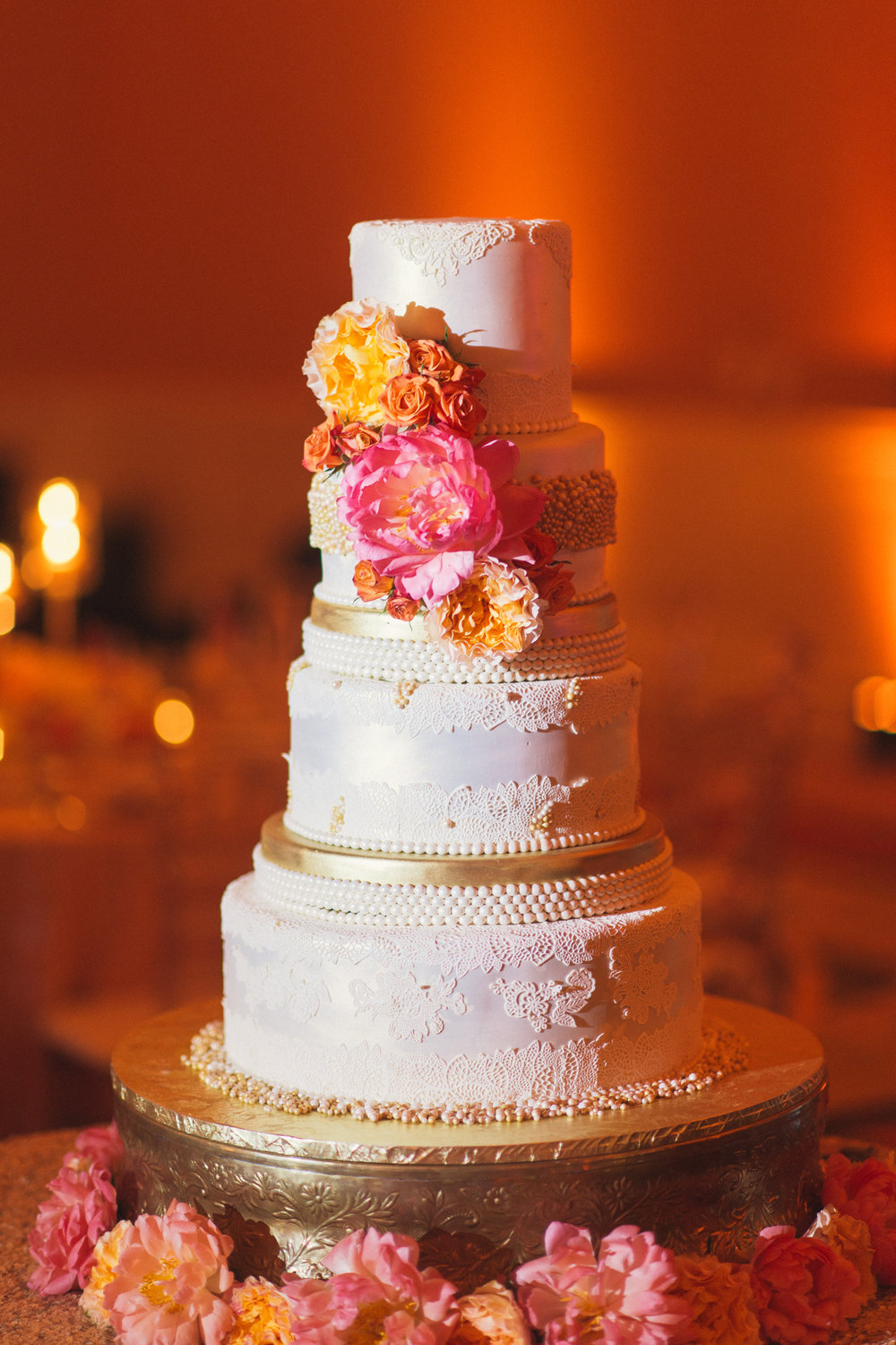 Wedding cake flowers coral