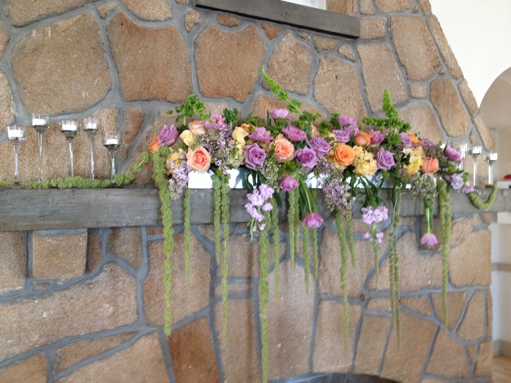 Garden wedding flowers fireplace