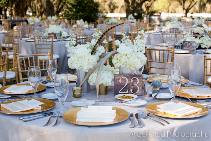 Organic wedding centerpieces Antlers and feathers