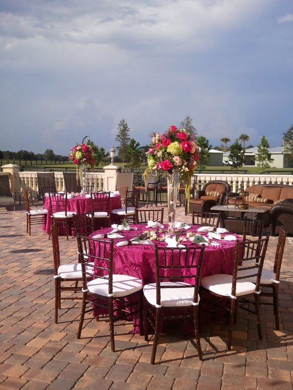 Pink tall wedding centerpieces