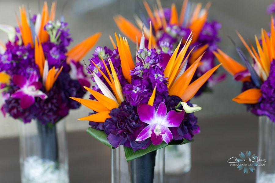 Tropical wedding bouquets Florida Aquarium wedding