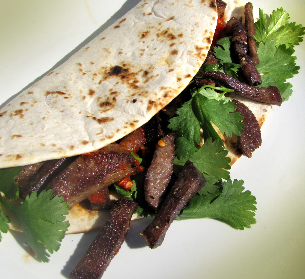 Leftover marinated and grilled venison or bison tenderloin is ideal for making tacos (if you ever have any leftovers). Cut the meat into bite-sized pieces and sear quickly in a heavy skillet. Wrap in tortillas with hot sauce, onion and cilantro. Wow!