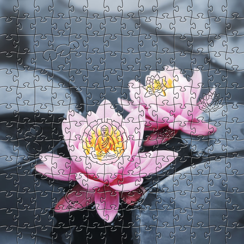 Zen Puzzle, Lotus Blossoms Medium