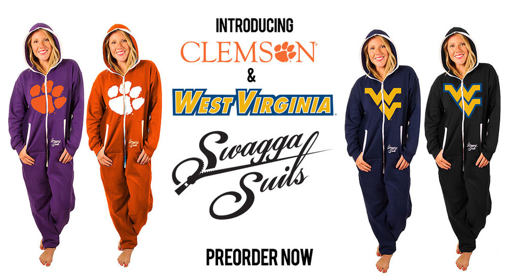 Clemson and West Virginia Swagga Suits