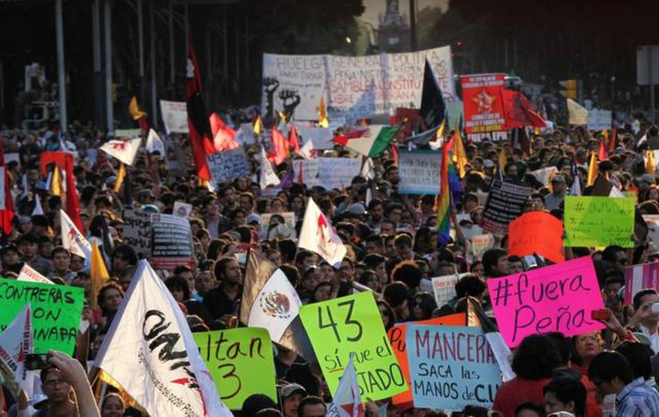 Demonstrators march last Sunday in Mexico City to protest the disappearance of 43 students in the state of Guerrero.     Marco Ugarte   The Associated Press