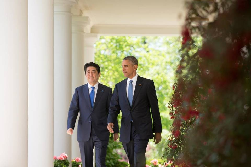 President Barack Obama and Japanese Prime Minister Shinzo Abe walk to the Rose Garden of the White House on Tuesday for a joint news conference. For the past decade, Japan has seen its population dropping steadily, and that's a problem. | Andrew Harnik The Associated Press