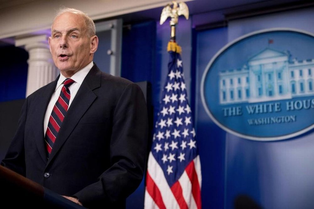 John Kelly, then-Homeland Security secretary, talks to the media during the daily press briefing at the White House in Washington, Tuesday, May 2, 2017. Andrew Harnik AP