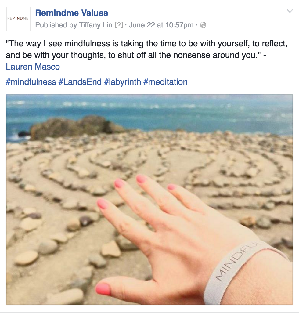 My friend Lauren branding Mindfulness on the Labyrinth at Land's End