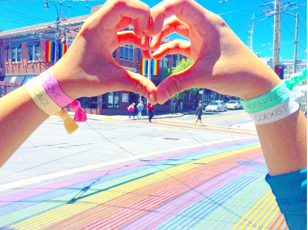 Feeling the love and honoring the new rainbow painted sidewalk at the Castro