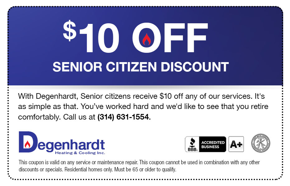$10 Senior Citizens Discount Heating and Cooling