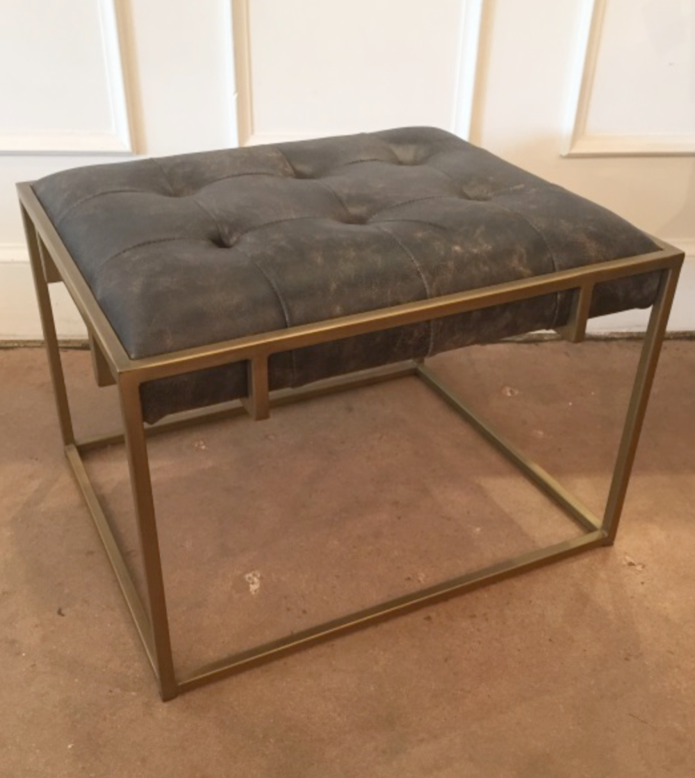 Leather & Metal Ottoman $550