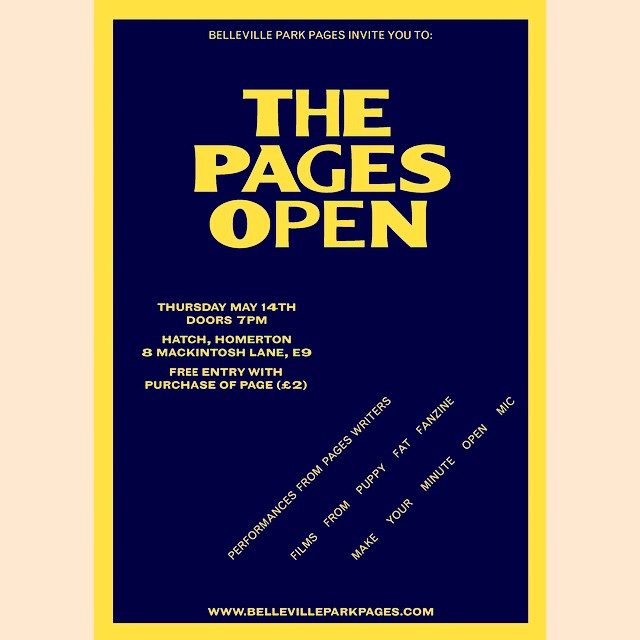 Our first London event is on Thursday at @hatchhomerton There's going to be performances from Pages writers, short films from @puppyfatfanzine and an Open Mic. It would be great to see you there. #bellevilleparkpages #london #hackney #poetry #shortfilm #openmic #event #puppyfat