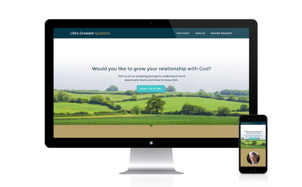 Home page and mobile mock up of the Life's Greatest Question website design.