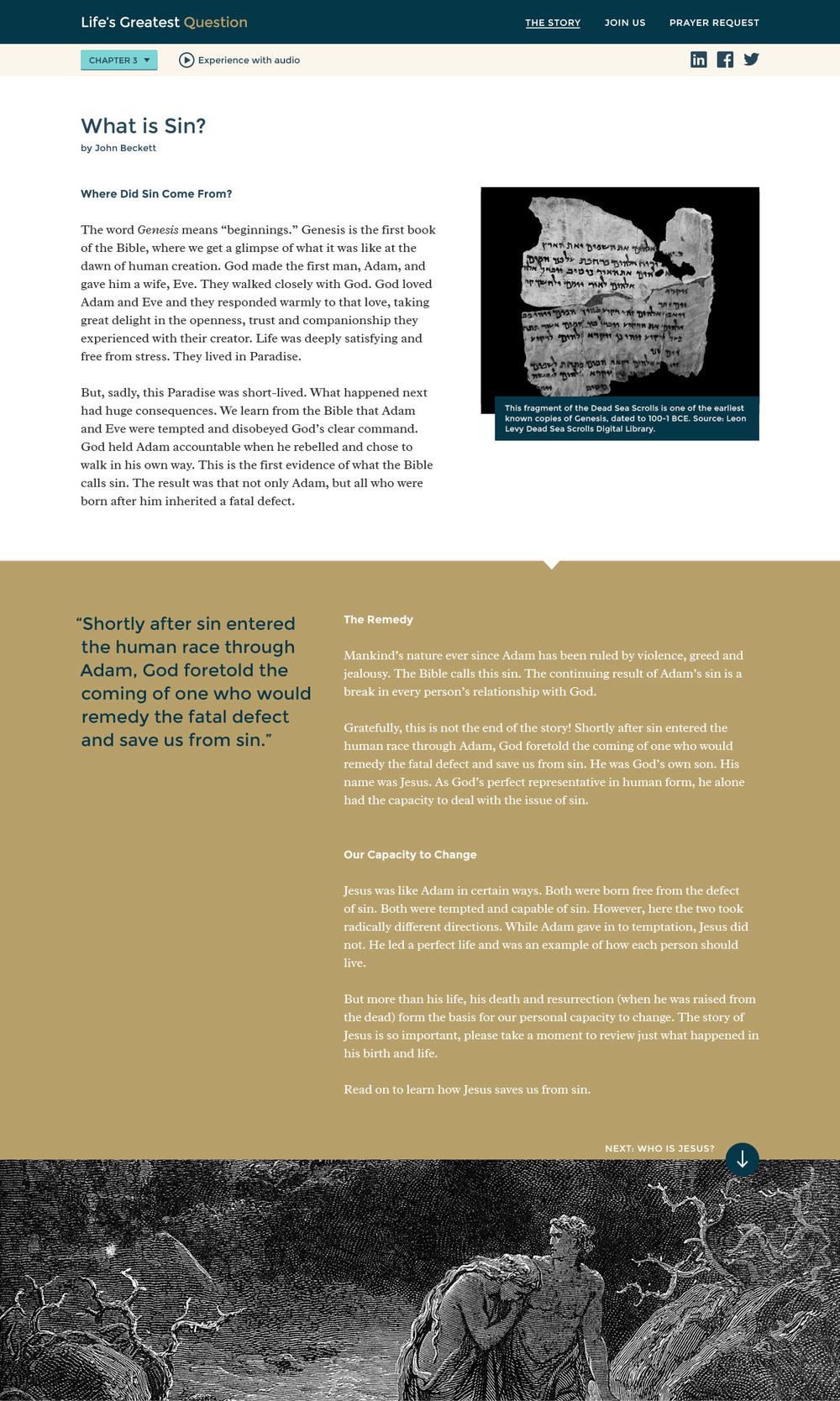 Lifes Greatest Question Chapter 3 website design for desktop.