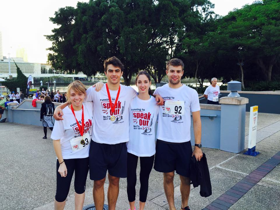 UQLS Running Club participants Amy, Will, Sarah and Hamish.