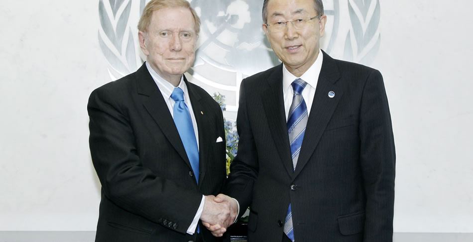 Justice Kirby with Ban Ki-moon, Secretary-General of the United Nations