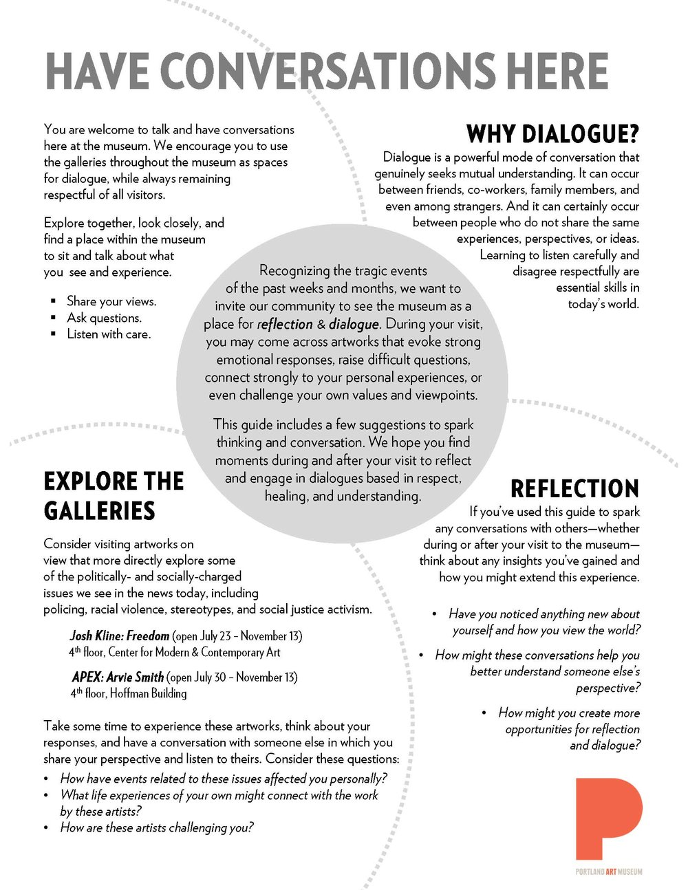 Portland Art Museum's  Have Conversations Here  guide, created by Mike Murawski.  Full (cut-n-paste/screen reader friendly) text available at:  https://artmuseumteaching.com/2016/08/31/have-conversations-here/