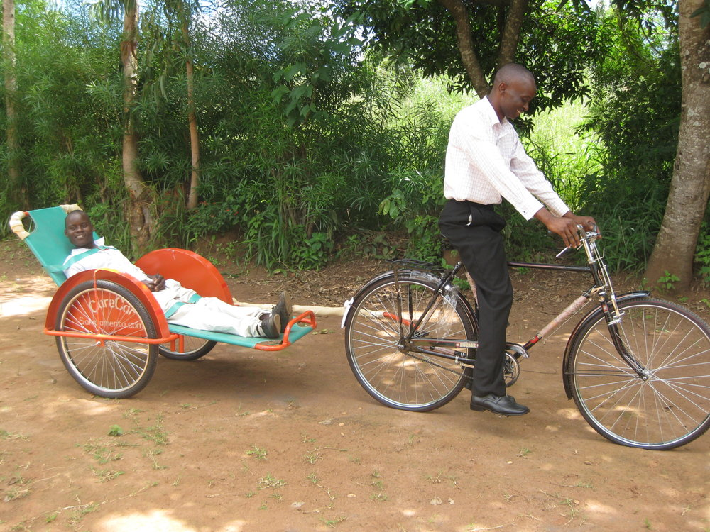 The bicycle ambulance in use in Malawi, Africa.