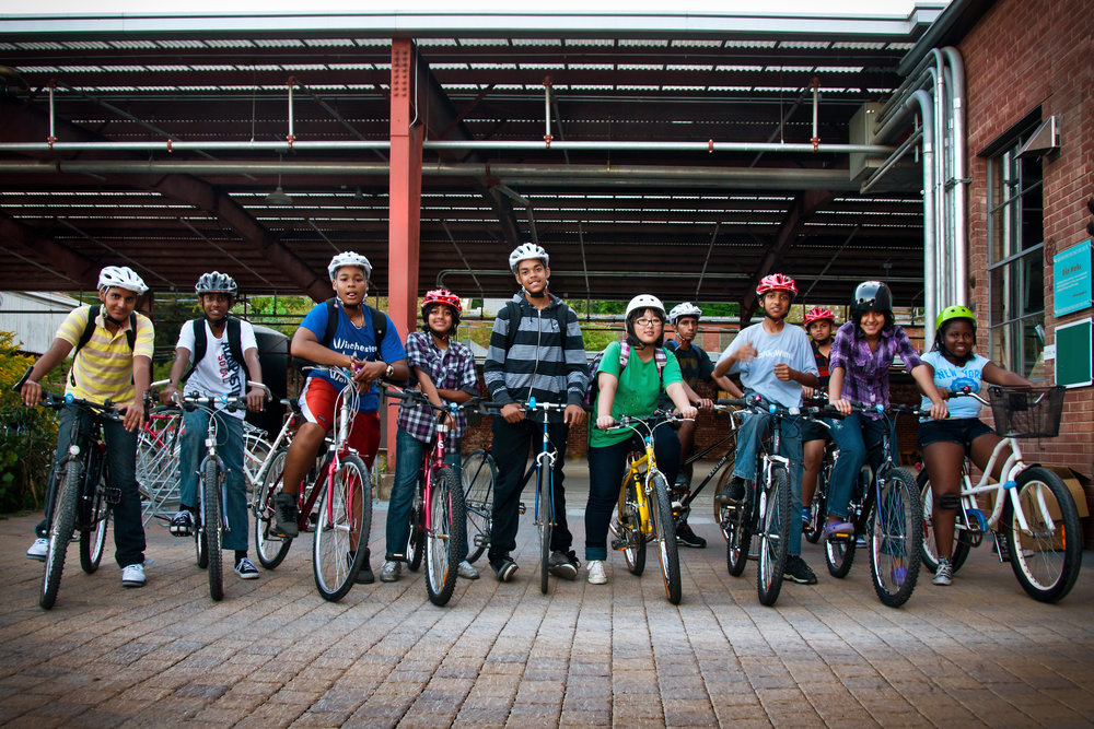 Our Great Bike Recycle program in Toronto outfitted all of these kids with bikes!