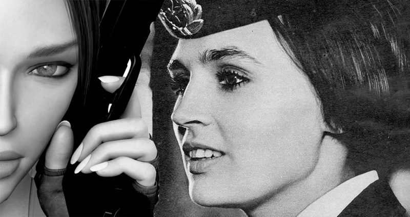 Digital collage featuring Lara Croft of  Tomb   Raider  and a found image of a flight attendant from my research with Soviet social publications.
