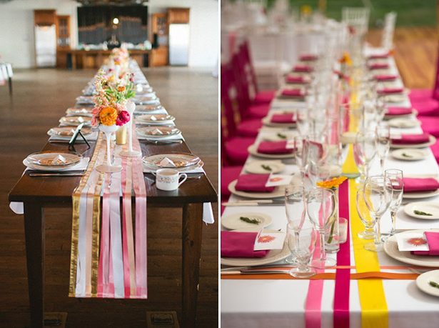 A blog of wedding styles fun ideas and awesome vendors hitch perfect and the dinner tables will have ribbons decorating the tabletop instead of large centerpieces what a great way to add color without spending lots of solutioingenieria Gallery