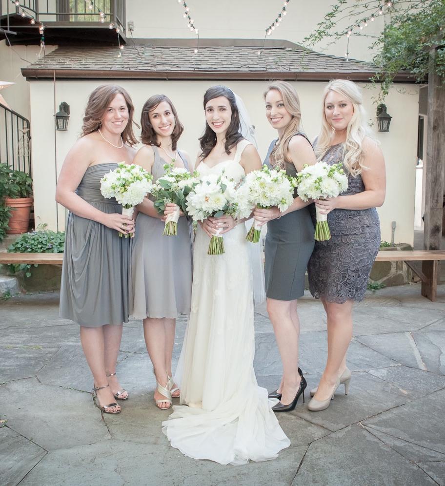 bridesmaids in gray
