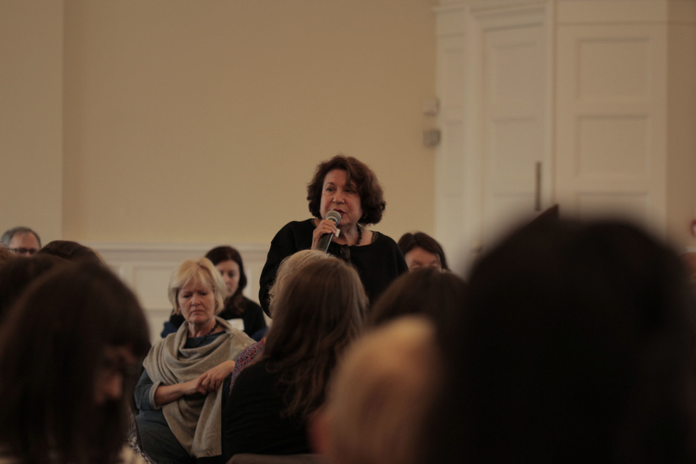 Susan Gregory in the midst of her workshop. Image courtesy of the British Gestalt Journal.