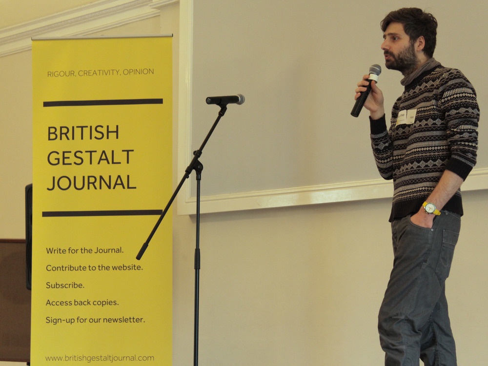 Adam Kincel, principal organiser of the seminar day, introduces the days proceedings.  Image courtesy of the British Gestalt J  ournal.