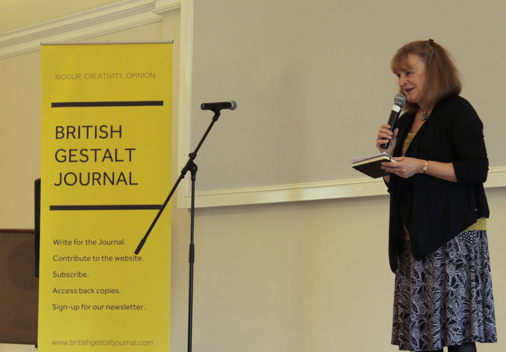Christine Stevens, current BGJ Editor, welcomes attendees.  Image courtesy of the British Gestalt J  ournal.