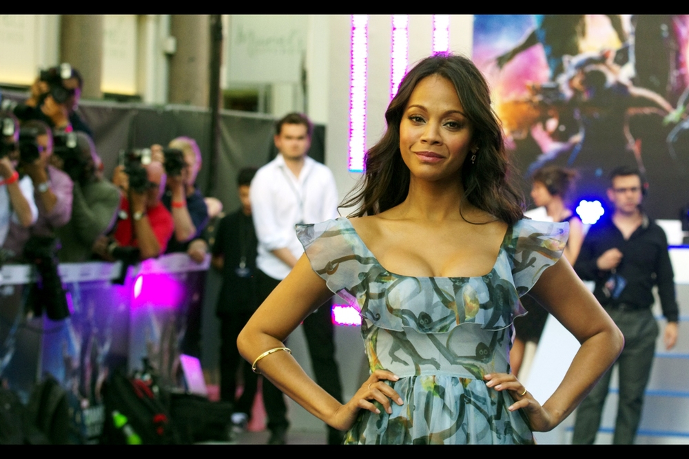"Actress Zoe Saldana, meanwhile, has added a new colour (beyond ""Na'vi Blue"") to her repertoire. She goes Gamora Green in this movie. I've previously photographed her at the premieres of  Avatar  ,  JJ Abrams Star Trek , and its sequel  Into Darkness"