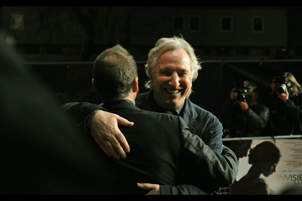 To those of you who thought Lord Voldemort and Professor Snape would never patch things up after the last Harry Potter film, here's a nice bit of reconciliation. Alan Rickman shows up to wish Ralph Fiennes all the best. Or seek vengeance, I guess.