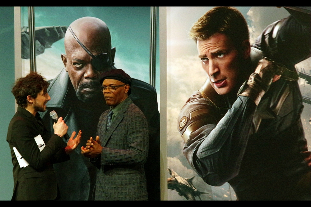 """I hear you avoid looking into mirrors when you're playing Nick Fury because even you find the eye-patch intimidating?"""