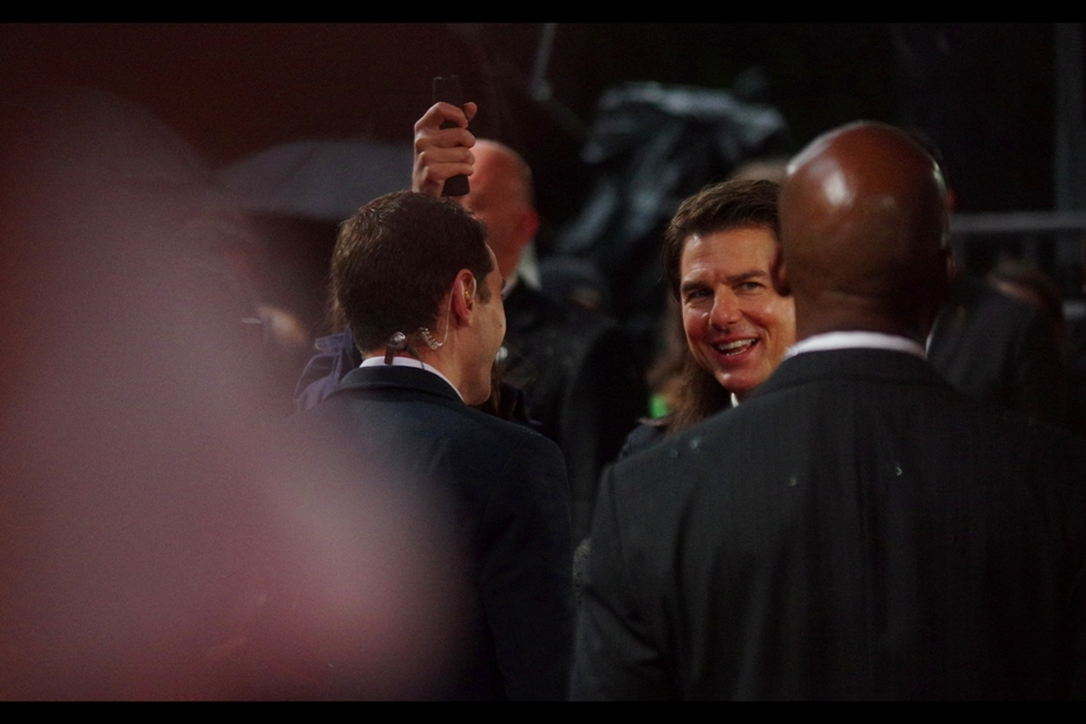 """Doug? Well,...he doesn't look like me, for starters"" It goes without saying that the first star to arrive at the premiere was Tom Cruise, about half an hour early, to start doing interviews and sign for fans."