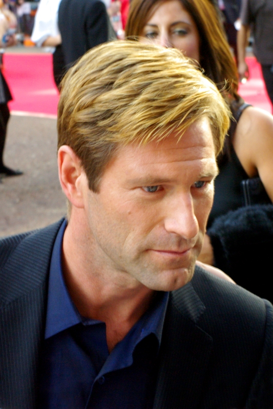 In the absence of merely taking the photos of the backs of the heads of four rows of peoples heads, I opted to save battery life. And here's... Aaron Eckhart. I found actually found him a bit smug and insufferable in 'Thank you for Smoking' so part of me looks forward to a good scene with (spoiler) involved. He seems nice enough in person, if I'm a judge of character among a crowd of thousands.