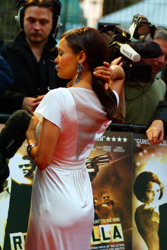 Thandie Newton in front of a poster of Thandie Newton. It's not something that happens to me a lot....
