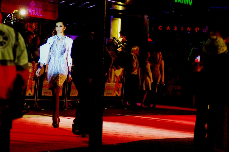 Prior to the premiere they had some models do an impromptu runway walk. Good practice for me, shooting between poles, police, security people and 'rival' cameramen.