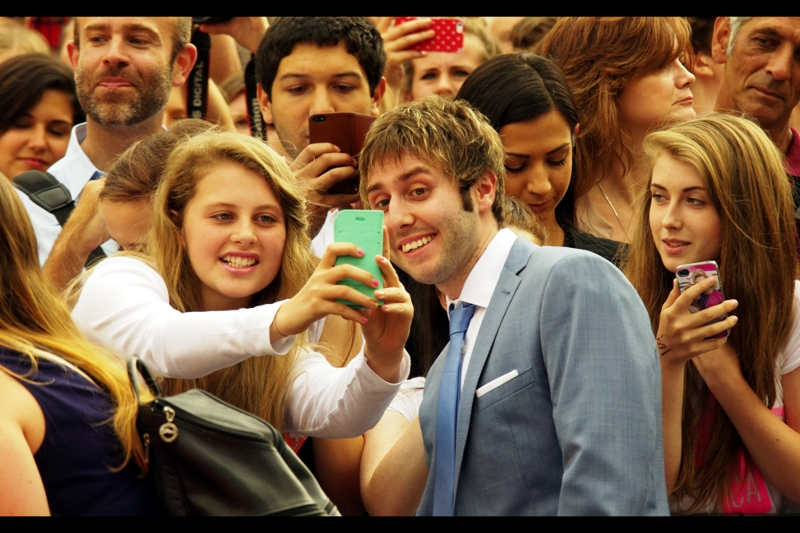 """Are you sure you should be showing me these photos from your phone... out here in public? Okay, then!!"" An update from the Inbetweeners 2 premiere... spirits remain high among fans and cast..."