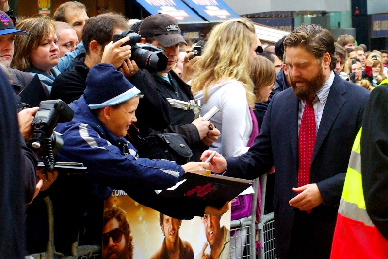 This is Zach Galifianakis. Near as I can tell, in the trailer he urinates on a tiger and bangs a toddler into the door of a police car. I can honestly say I've only ever wanted to do one of those, and neither in Vegas.