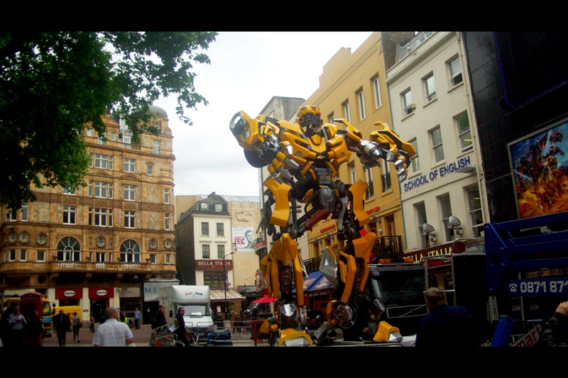 Leicester Square. All of a sudden, dozens of employees texted their bosses to explain they couldn't come in to work because of the giant robots roaming around parts of London...