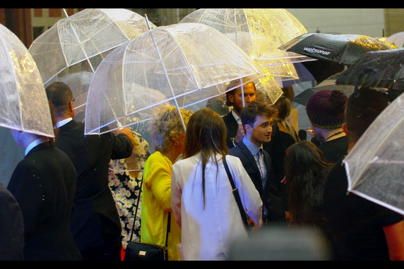 """How many people holding umbrellas does it take to keep me dry when it rains? Well, it's not so much me only, you need umbrellas so that the people holding umbrellas don't get wet and so on... that 5h!t cascades"". I like the idea that Daniel Radcliffe drops the odd swearword into his interviews... although I have no proof."