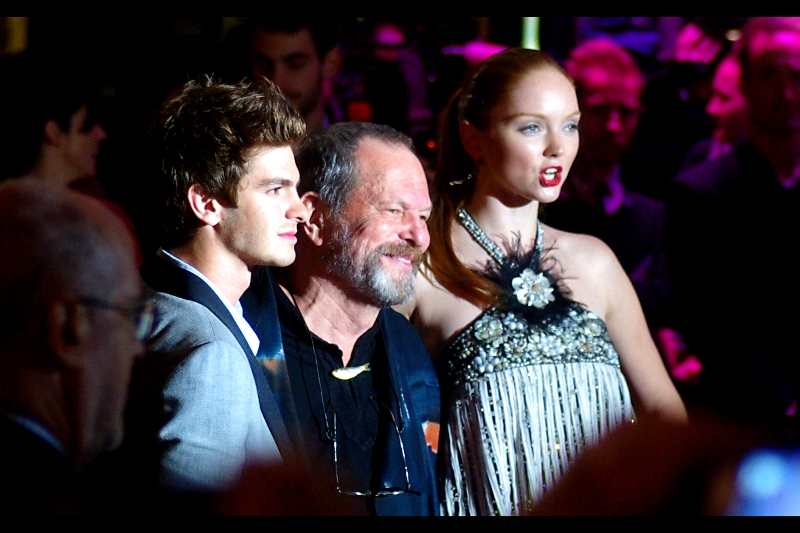 From left to right, actor Andrew Garfield, director Terry Gilliam and actress/model Lily Cole. I've checked out Lily Cole's wikipedia entry, and apparently she's a legitimate model. Like, really! (Insofar as I'm hardly a doyen of the field of fashion, beanie collection notwithstanding..)