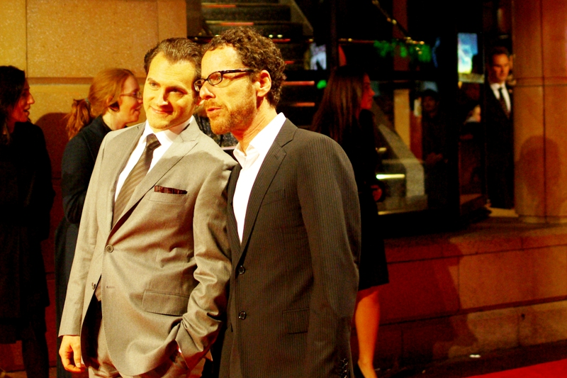 Michael Stuhlbarg poses with one of the Coen Brothers ('Fargo', 'The Big Lebowski'). I can't tell them apart because I've never met them and the other one isn't in frame, so I'm playing the odds and calling the same Coen brother 'from two photos ago Joel' this time. I'm now therefore at least 50% accurate in identifying Coen Brothers I've never met!