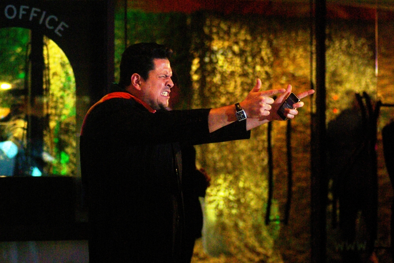 "The link between real life violence and computer game violence? Still tenuous. Wireimage informs me that this is Dom Joly, whom wikipedia calls a ""broadcaster, TV presenter and comedian"". Rock on."