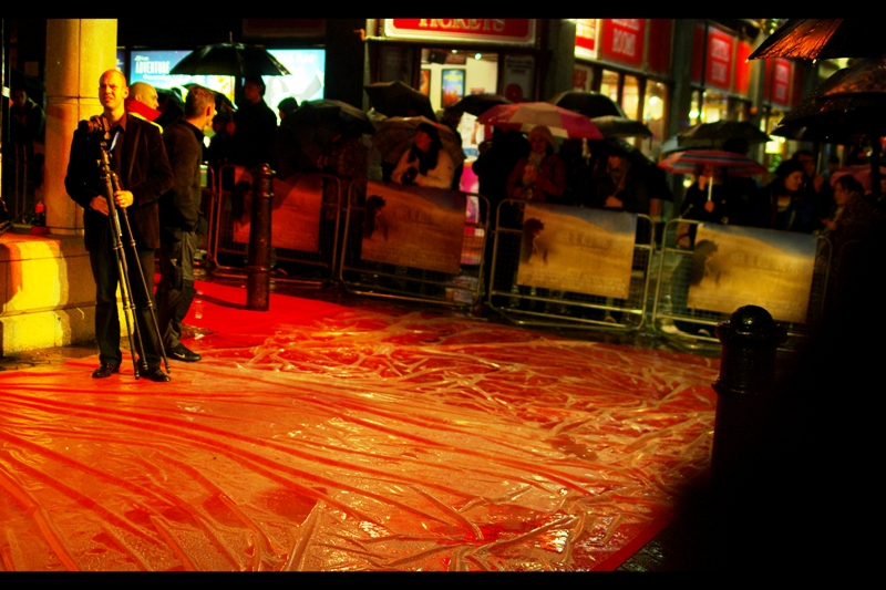 Minor flooding on red carpet. Yeah.. that's not ideal. On the plus side, it kept crowd numbers down (I'm not generally an optimist, but anything short of meteor strikes and locust plagues that keeps crowd numbers down is generally a good thing) (the carpet had a plastic covering that was removed at the last minute)