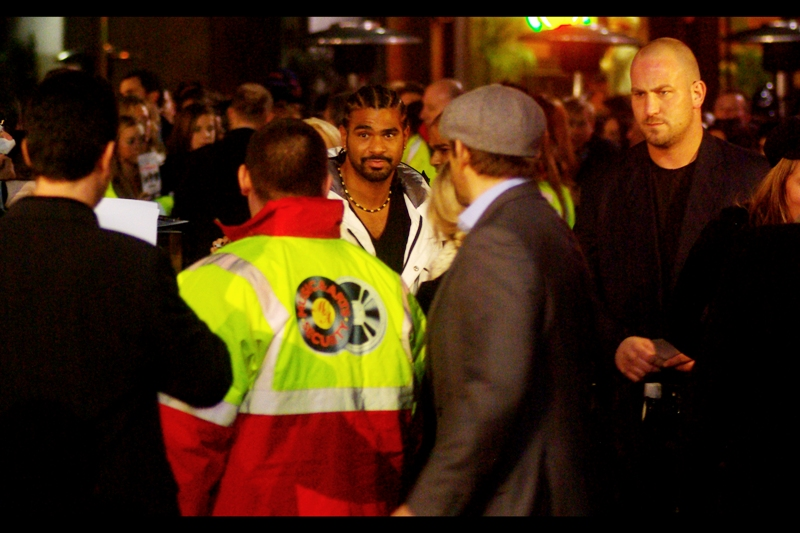 "Heavyweight boxing champ David Haye scores himself another movie premiere (He was also at the Michael Caine ""Harry Brown"" premiere). The process of beating up ever-increasingly stronger people for a career sure can lead you to some interesting places. (You know, like a boxing world championship. or jail. OR movie premieres)"
