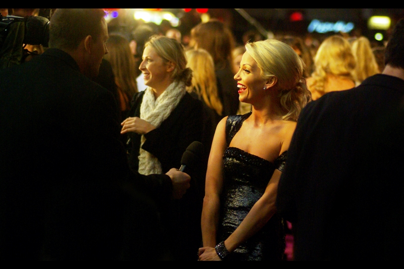Singer/Actress Sarah Harding Laughs. Which is not news in and of itself, but I do find the notion that she's one of the shyest in the band 'Girls Aloud' yet seems to play one of the most 'aggressive' 'bandmembers' in it fascinating.