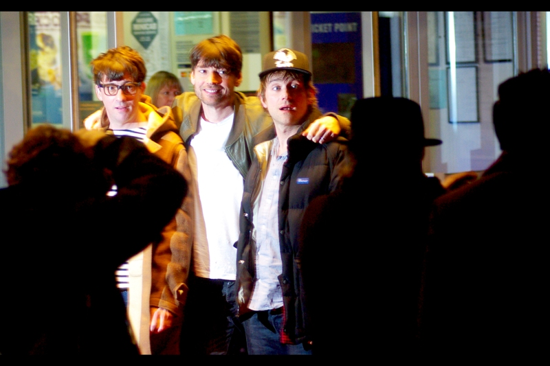 Three of the four guys from Blur… ever so slightly flash/motion blurred. (Don't tell me I'm not subtly subversive like that!)