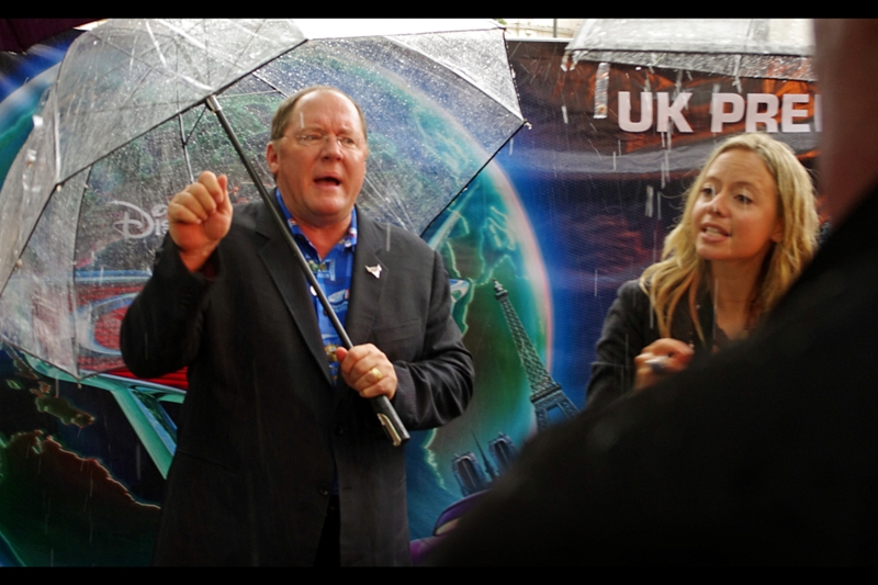 Director John Lasseter shows up just as it begins to pour heavily and promises to return later if he can find a pen. Or a laser pointer (?). Or a set of marracas (?)