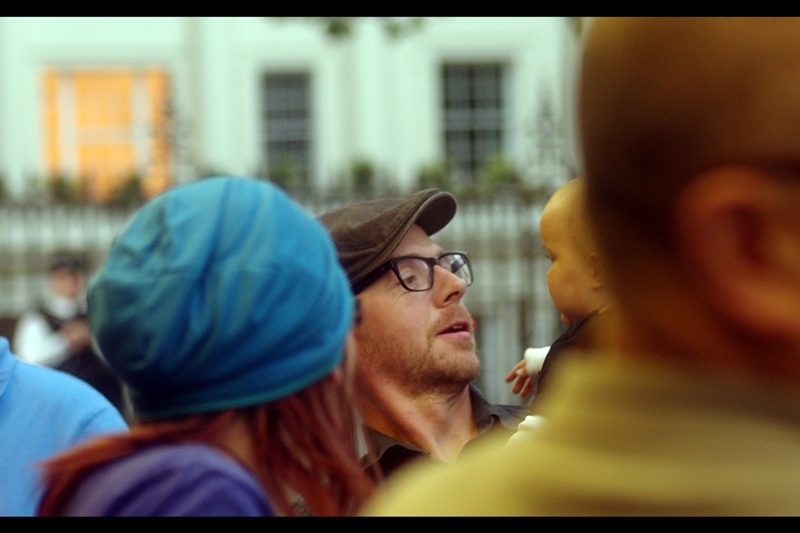 Simon Pegg (Shaun of the Dead, the execrable 'Hot Fuzz' and Scotty in Star Trek) drops by to steal a random kid. He's wearing a beret, people - he can totally do that! (He and Kirsten Dunst were co-stars in 'how to lose friends and alienate people')